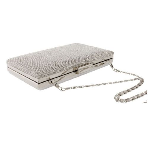 silver crystal bridal clutch bag, wedding evening bag